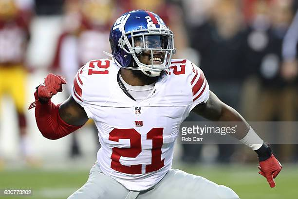 Strong safety Landon Collins of the New York Giants reacts after sacking quarterback Kirk Cousins of the Washington Redskins in the first quarter at...