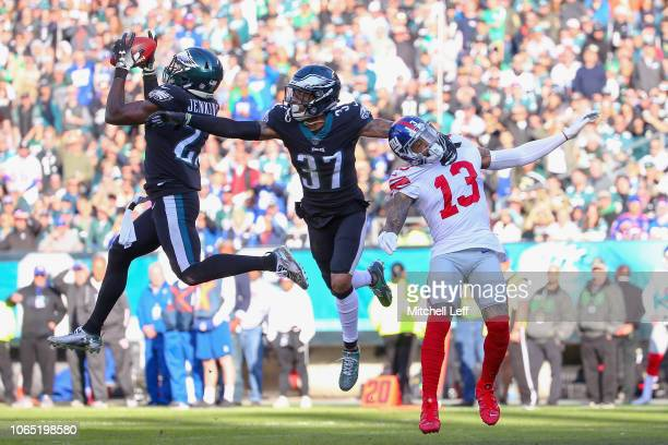 Strong safety Malcolm Jenkins of the Philadelphia Eagles intercepts a pass intended for wide receiver Odell Beckham of the New York Giants during the...