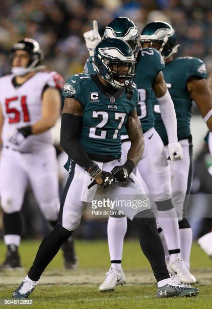 Strong safety Malcolm Jenkins of the Philadelphia Eagles reacts against the Atlanta Falcons during the second quarter in the NFC Divisional Playoff...