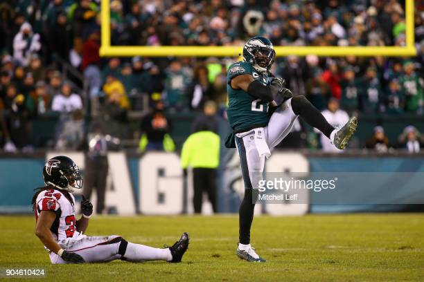 Strong safety Malcolm Jenkins of the Philadelphia Eagles reacts to an incomplete pass to running back Devonta Freeman of the Atlanta Falcons during...