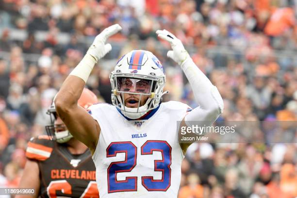 Strong safety Micah Hyde of the Buffalo Bills celebrates during the first half against the Cleveland Browns at FirstEnergy Stadium on November 10,...