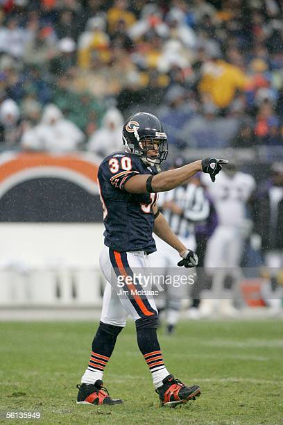 Strong safety Mike Brown of the Chicago Bears points during the game against the Baltimore Ravens on October 23 2005 at Soldier Field in Chicago...