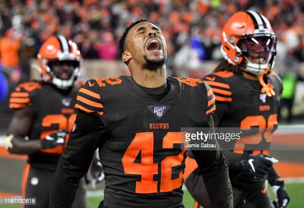 Strong safety Morgan Burnett of the Cleveland Browns celebrates an interception off a tip in the second quarter of the game against the Pittsburgh...