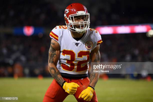 Strong safety Tyrann Mathieu of the Kansas City Chiefs reacts to a defensive stop against the Chicago Bears in the third quarter of the game at...