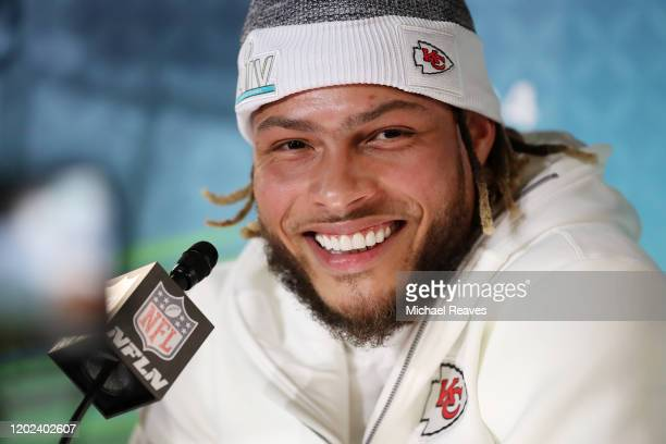 Strong safety Tyrann Mathieu of the Kansas City Chiefs speaks to the media during Super Bowl Opening Night presented by BOLT24 at Marlins Park on...