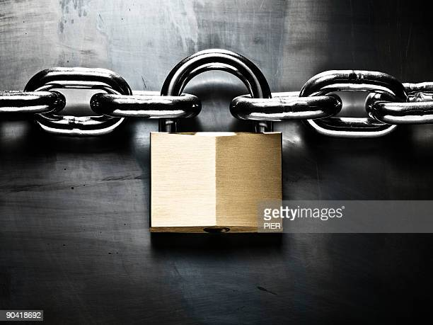 Strong steel chain held together with padlock