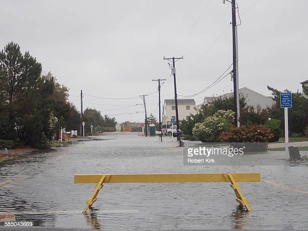 Bethany Beach Delaware October 2 2015 Strong storm causing flooding Streets are covered with water and are closed Depicted here is Ashwood Street
