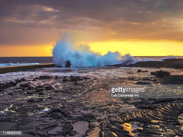 strong surf. wawaloli beach. kailua-kona. hawaii - kailua beach stock photos and pictures
