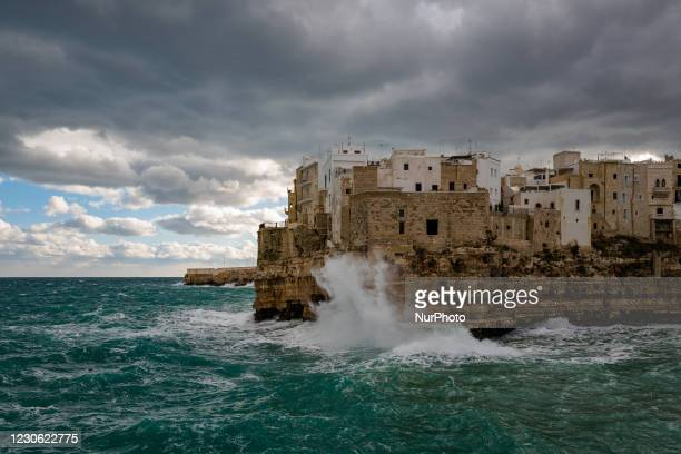 """Strong wind and high waves hit the Lama Monachile cliff in Polignano a Mare on January 16, 2021. The arrival of the """"Russian cold"""",..."""