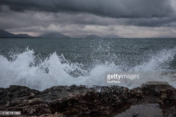 Strong winds cause waves and restrictions for boats and ships in Nea Artaki Greece on January 5 2020 Greece is facing the cold weather front...