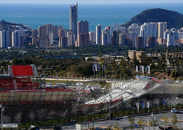 Strong winds damage stands at the Parque Tematico Terra Mitica on March 6 2009 in Benidorm Spain The Davis Cup tie between Spain and Serbia has been...