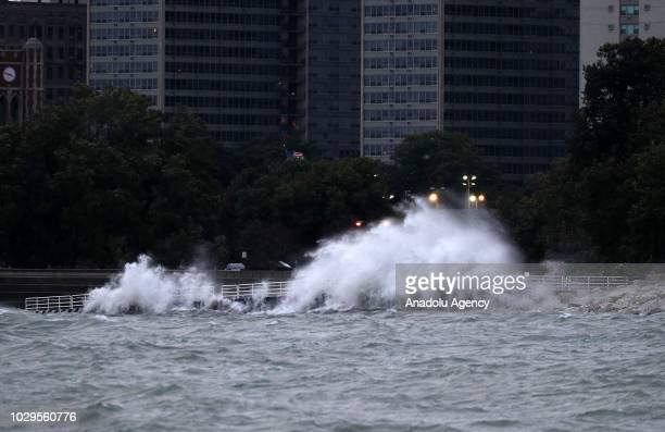 Strong winds, reach up to 60 kph, drive high waves pound the shoreline on Lake Michigan in Chicago, Illinois, United States on September 08, 2018....