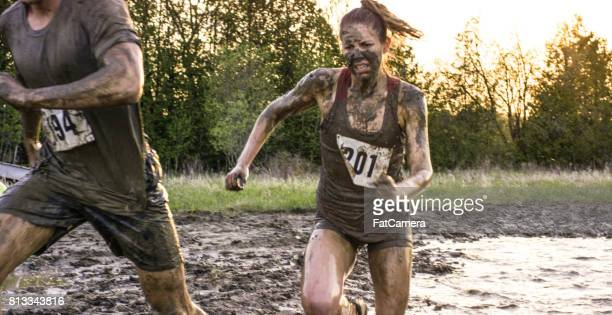 strong woman - obstacle course stock photos and pictures