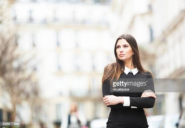 Strong Young Woman's Portrait In A Residential Area