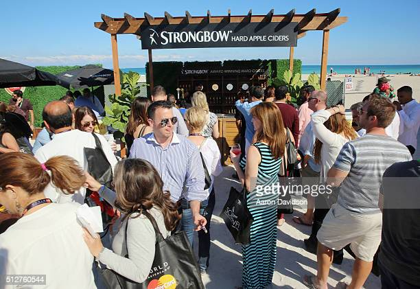Strongbow Hard Apple Ciders stand on display at Goya Foods Grand Tasting Village Featuring MasterCard Grand Tasting Tents KitchenAid® Culinary...