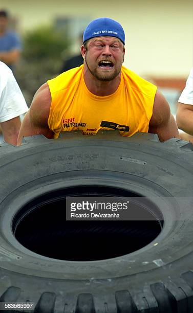 Strongnan Jesse Marunde won his heat on the 900 plus pound tire flip event that earned him 1st place overall in the GNC Pro performance X–Treme...