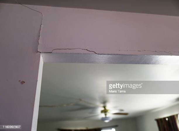 A structural crack from the recent 71 magnitude earthquake is seen in the Eldridge family home which has been deemed uninhabitable due to structural...