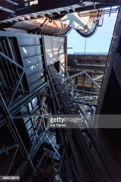 Structural details of the former ThyssenHüttenwerk steel mill now known as Landschaftspark Duisburg Nord Duisburg Germany February 14 2018 The...