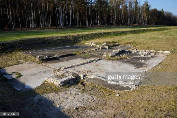 Structural remains at the site of the former BergenBelsen German Nazi concentration camp in Lower Saxony Germany 2014 The site is now a museum and...