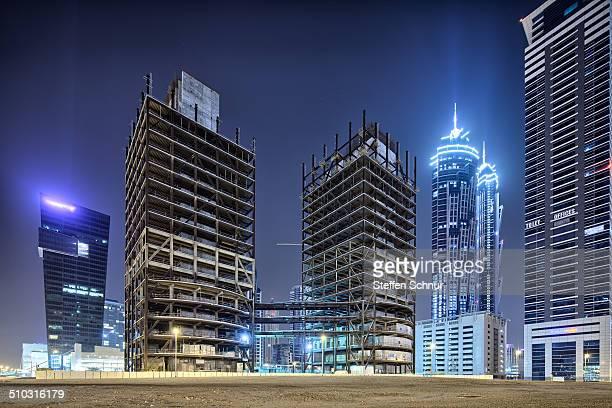 Structural work between skyscrapers in Dubai