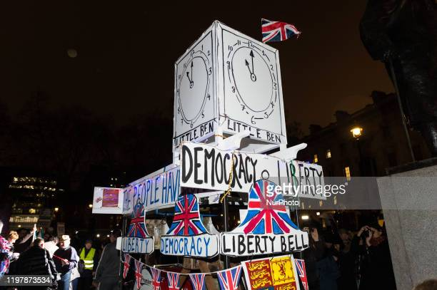 A structure representing Big Ben covered with bunting is erected in Parliament Square as thousands of proBrexit supporters take part in a rally...