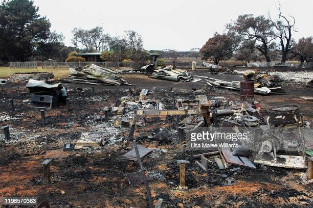 Structures destroyed by bushfire are seen west of Parndana on January 10 2020 on Kangaroo Island Australia Over 100000 sheep stock have been lost so...