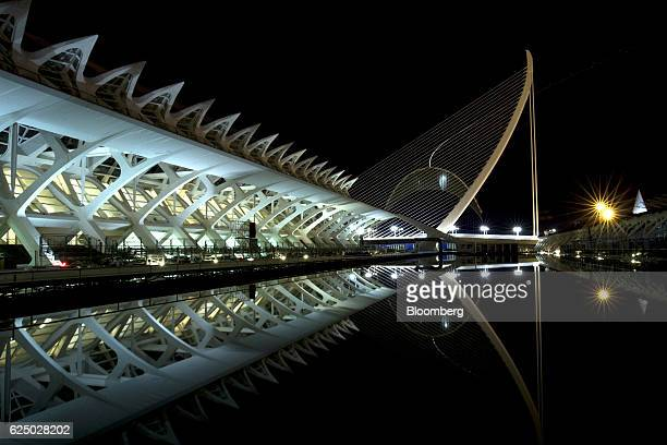 Structures in the City of Arts and Science complex stand illuminated at night in the City of Arts and Science complex in Valencia, Spain, on Monday,...