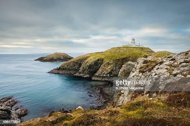 Strumble Head lighthouse on the rocky Pembrokeshire coast taken on February 7 2015