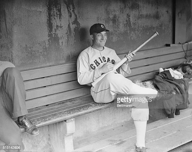 Strumming Out a Few Base Hits. Al Simmons, outfielder of the Chicago White Sox, acquired this season from the Philadelphia Athletics, amuses himself...