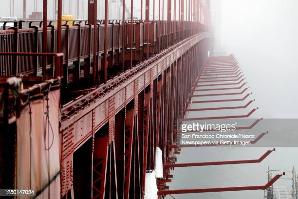 Struts constructed as part of a planned suicide net sit underneath the east side of the Golden Gate Bridge in San Francisco, Calif. Wednesday, Dec....