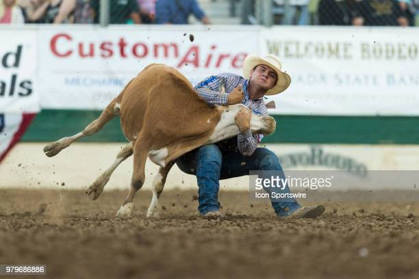 D Struxness during the Steer Wrestling event at the Reno Rodeo on Tuesday June 19 2018 at the Reno Livestock Events Center in Reno Nev