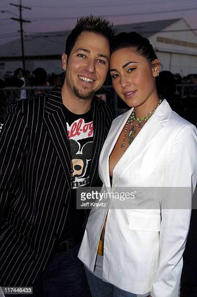 DJ Stryker and guest during Spike TV's 2nd Annual Video Game Awards 2004 Red Carpet at Barker Hangar in Santa Monica California United States