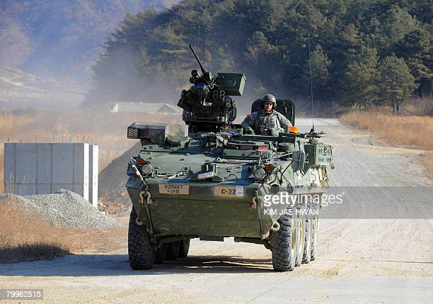 Stryker armoured combat vehicle manoeuvres at the US army's Rodriguez range in Pocheon about 70 km northeast of Seoul near the heavilyfortified...