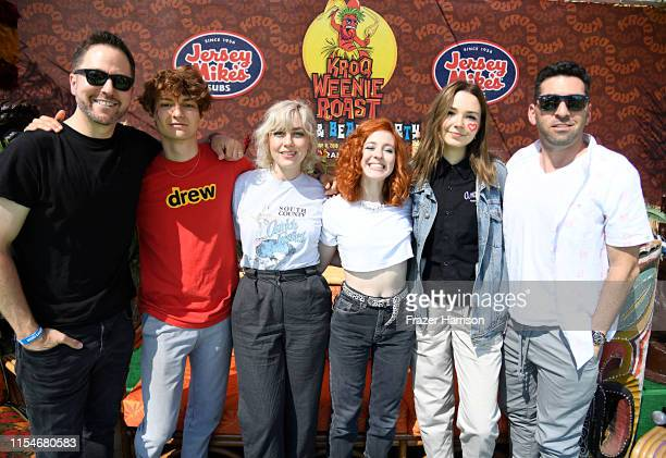 Stryker Drew Thomsen Brooke Dickson Genessa Gariano and Lydia Night of The Regrettes and Klein attend KROQ Weenie Roast Luau at Doheny State Beach on...