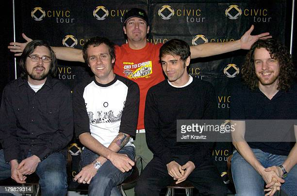 Stryker from KROQ with Scott Shoenbeck, Mike Marsh, Chris Carrabba and John Lefler of Dashboard Confessional