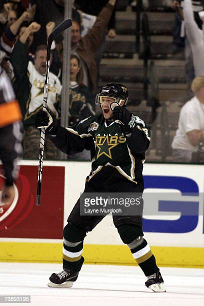 Stu Barnes of the Dallas Stars celebrates his goal against Roberto Luongo of the Vancouver Canucks during the 2nd period of game three of the 2007...