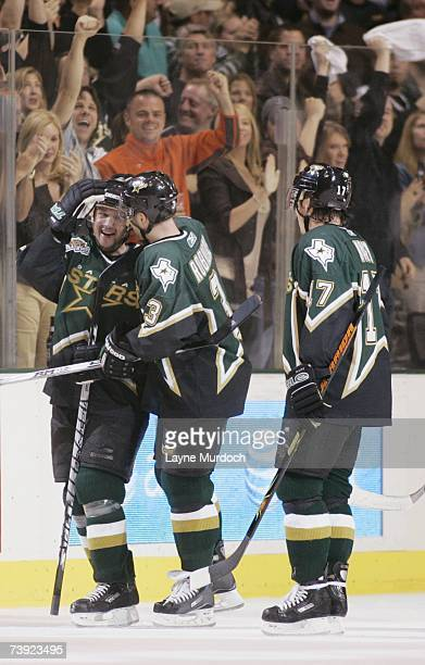 Stu Barnes Stephane Robidas and Ladislav Nagy of the Dallas Stars celebrate against the Vancouver Canucks during game three of the 2007 NHL Western...