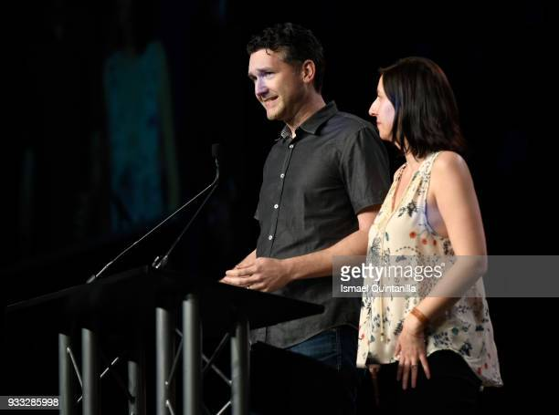 Stu Denman and Paulette Denman accepts the award for Gamer's Voice Award Mobile Game onstage at SXSW Gaming Awards during SXSW at Hilton Austin...