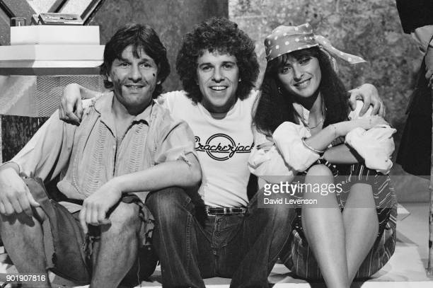 Stu Francis and Jan Michelle two new members of the team of children's television show 'Crackerjack' with guest star singer Leo Sayer UK 24th...