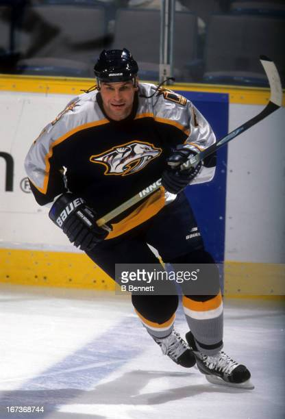 Stu Grimson of the Nashville Predators skates on the ice during an NHL game against the Edmonton Oilers on October 22 2001 at the Rexall Place in...