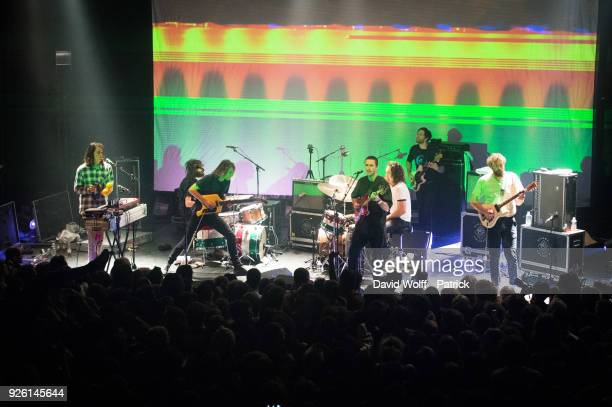 Stu Mackenzie Ambrose Kenny Smith Joey Walker Cook Craig Lucas Skinner Michael Cavanah and Eric Moore from King Gizzard The Lizard Wizard at Le...
