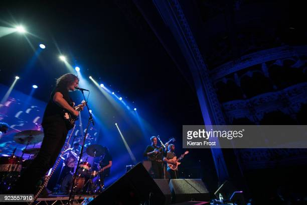 Stu Mackenzie Joey Walker and Cook Craig of King Gizzard The Lizard Wizard perform at the Olympia Theatre on February 23 2018 in Dublin Ireland
