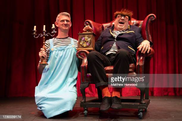 Stu McLoughlin and Howard Coggins perform the Living Spits Beauty and the Beast comedy at the Bristol Old Vic on December 9, 2020 in Bristol,...