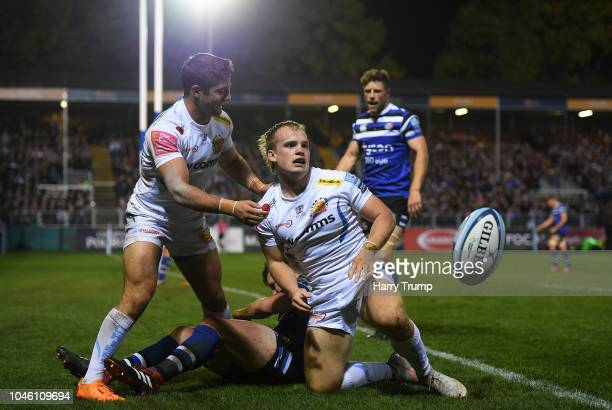 Stu Townsend of Exeter Chiefs celebrates after scoring his sides first try during the Gallagher Premiership Rugby match between Bath Rugby and Exeter...