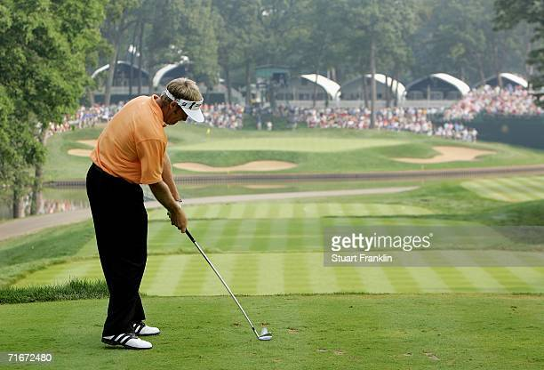 Stuart Appleby of Australia hits off of the 13th tee box during the second round of the 2006 PGA Championship at Medinah Country Club on August 18...