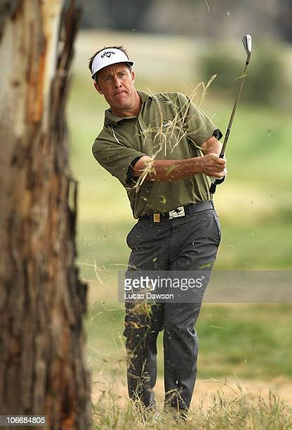 Stuart Appleby of Australia plays a shot during day one of the Australian Masters at The Victoria Golf Club on November 11, 2010 in Melbourne,...