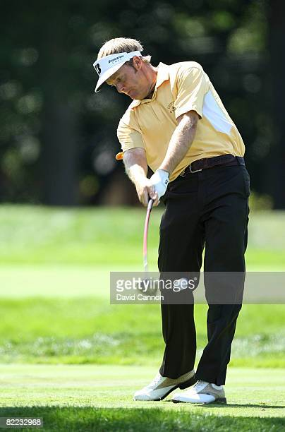 Stuart Appleby of Australia plays his tee shot on the sixth hole during round three of the 90th PGA Championship at Oakland Hills Country Club on...