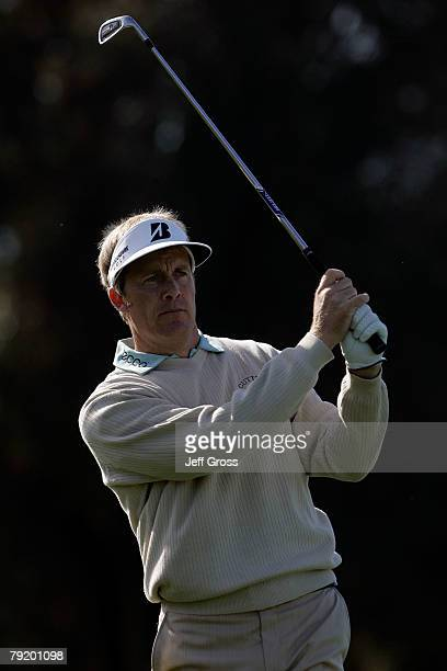 Stuart Appleby of Australia watches his second shot on the 15th hole of the North Course during the first round of the Buick Invitational at the...