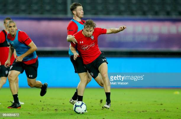Stuart Armstrong and Callum Slattery during a Southampton FC training session while on their pre season tour of China on July 9 2018 in Xuzhou China