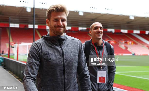Stuart Armstrong and Oriol Romeu of Southampton arrives ahead of the Premier League match between Southampton and Burnley at St Mary's Stadium on...